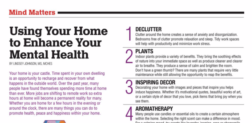 Using Your Home to Enhance Your Mental Health