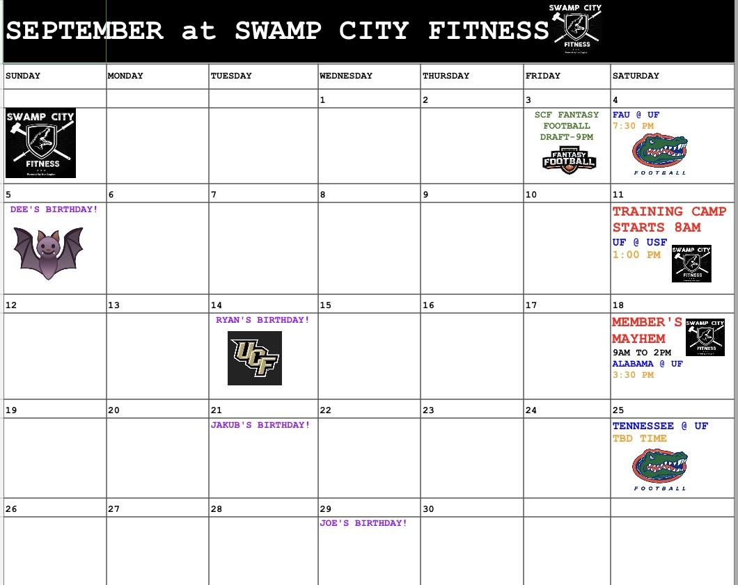 Image of September events calendar
